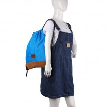 E6645 - MISS LULU UNISEX DRAWSTRING BACKPACK School PE Gym Work Rucksack Bag blue