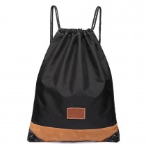 E6645 - Kono Unisex Drawstring Sport Backpack Plain Black