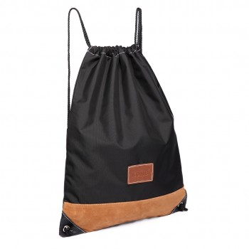 E6645 - MISS LULU UNISEX DRAWSTRING BACKPACK School PE Gym Work Rucksack Bag black