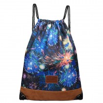E6645FA - Kono Unisex Drawstring Backpack Fireworks Blue