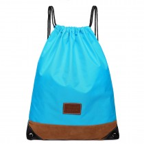 E6645 - Kono Unisex Drawstring Sport Backpack Plain Light Blue