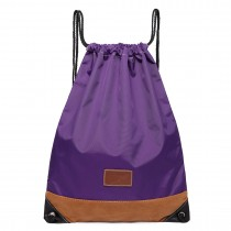 E6645 - Kono Unisex Drawstring Sport Backpack Plain Purple