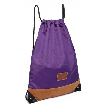 E6645 - MISS LULU UNISEX DRAWSTRING BACKPACK School PE Gym Work Rucksack Bag purple