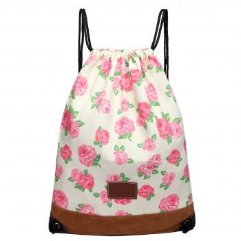 E6645 - MISS LULU UNISEX DRAWSTRING BACKPACK School PE Gym Work Rucksack Bag Flower