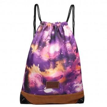 E6645 - MISS LULU UNISEX DRAWSTRING BACKPACK School PE Gym Work Rucksack Bag Universe patterns