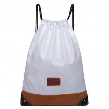 E6645 - MISS LULU UNISEX DRAWSTRING BACKPACK School PE Gym Work Rucksack Bag white