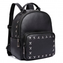 E6649 - Miss Lulu Lady Black Rivets Leather Look Backpack Black