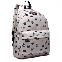 E6701FEI BG - Miss Lulu Large Canvas Backpack Beige