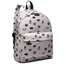 E6701FEI BG - Miss Lulu Large Canvas Backpack Beige