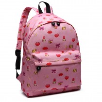 E6701FEI PK - Miss Lulu Large Canvas Backpack Pink