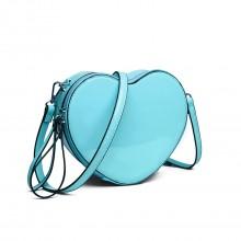 E6703 - Miss Lulu Ladies Heart-shaped Cross body Bag Blue