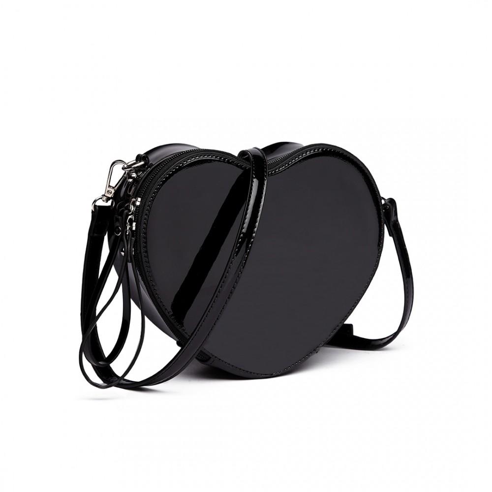 d71e26e748 E6703 BK Miss Lulu Mesdames filles en forme de coeur sac à bandoulière sac  à bandoulière noir