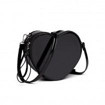 E6703- Miss Lulu Ladies Heart-shaped Cross body Bag Black