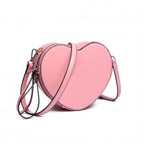 E6703- Miss Lulu Ladies Heart-shaped Cross body Bag pink