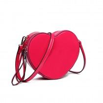 E6703- Miss Lulu Ladies Heart-shaped Cross body Bag plum