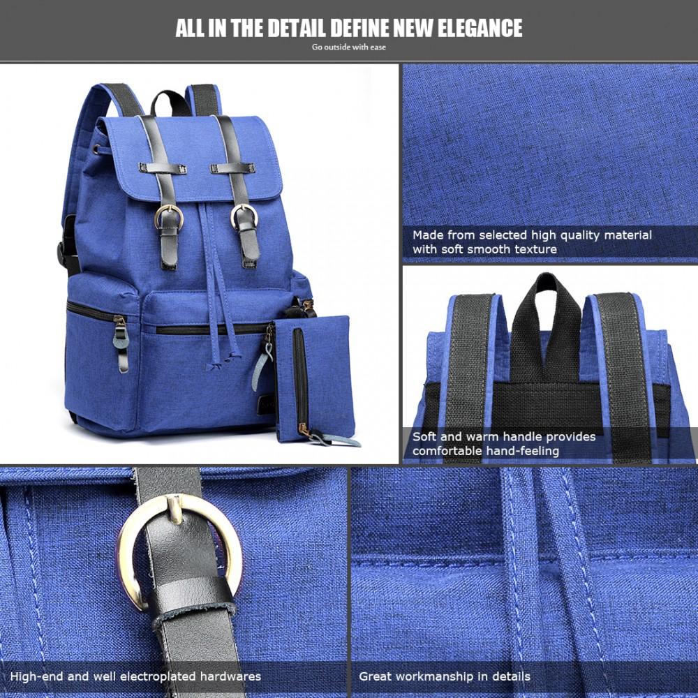 e81147b3 E6704 -Unisex Canvas 2 Pcs Backpack Large Multi Function Leather ...