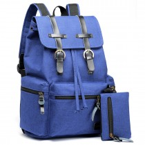 E6704 -Unisex Canvas 2 Pcs Backpack Large Multi Function Leather Details Blue