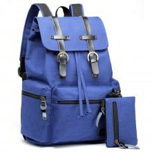 E6704 -Unisex Canvas 2 Pcs Backpack Large Multi Function Leather Details Blue