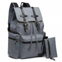 E6704 -Unisex Canvas 2 Pcs Backpack Large Multi Function Leather Details Grey