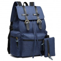 E6704 -Unisex Canvas 2 Pcs Backpack Large Multi Function Leather Details Navy