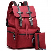 E6704 -Unisex Canvas 2 Pcs Backpack Large Multi Function Leather Details Red