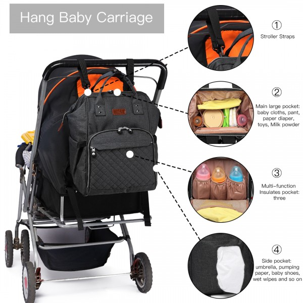 E6705 - Kono Wide Open Designed Baby Diaper Changing Backpack - Black