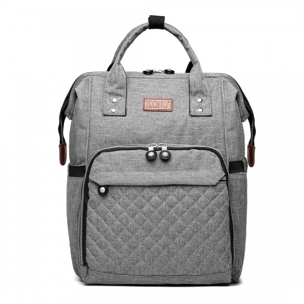 E6705 - Kono Wide Open Designed Baby Diaper Changing Backpack - Grey