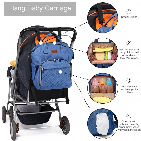 E6705 -  Kono Wide Open Designed Baby Diaper Changing Backpack Blue