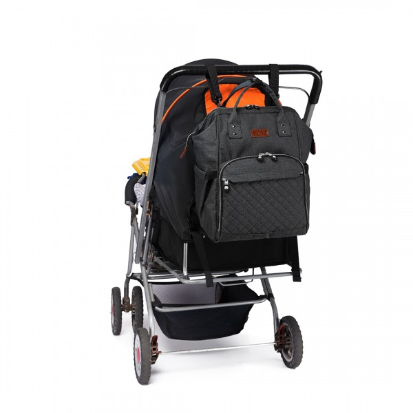E6705 - Kono Wide Open Designed Baby Diaper Changing Backpack Black