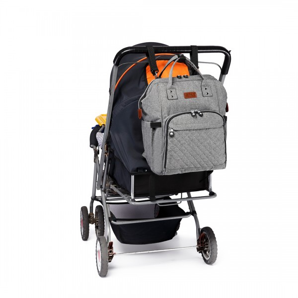 E6705 - Kono Wide Open Designed Baby Diaper Changing Backpack Grey