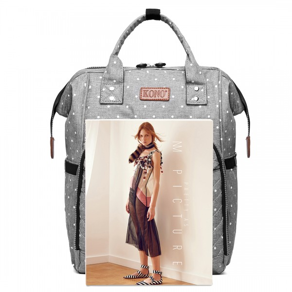E6705D2 - Kono Wide Open Designed Baby Diaper Changing Backpack Dot - Grey