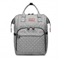 E6705D2 - Kono Wide Open Designed Baby Diaper Changing Backpack Dot- Grey
