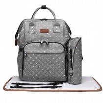 E6705D2 - Miss Lulu Wide Open Designed Baby Diaper Changing Backpack Dot Grey