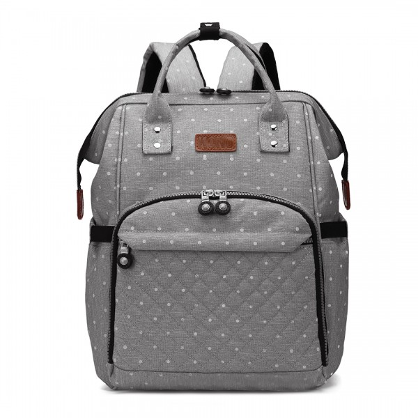 E6705D2 - Kono Wide Open Designed Baby Diaper Changing Backpack Dot Grey