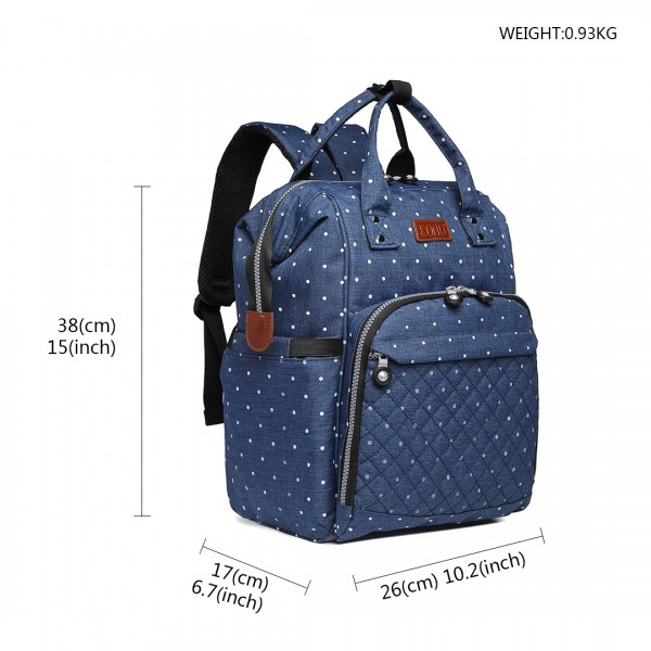 E6705D2 - Kono Wide Open Designed Baby Diaper Changing Backpack Dot - Navy