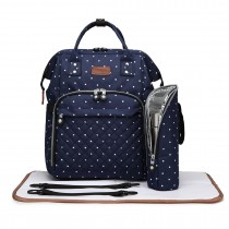 E6705D2 - Miss Lulu Wide Open Designed Baby Diaper Changing Backpack Dot Navy