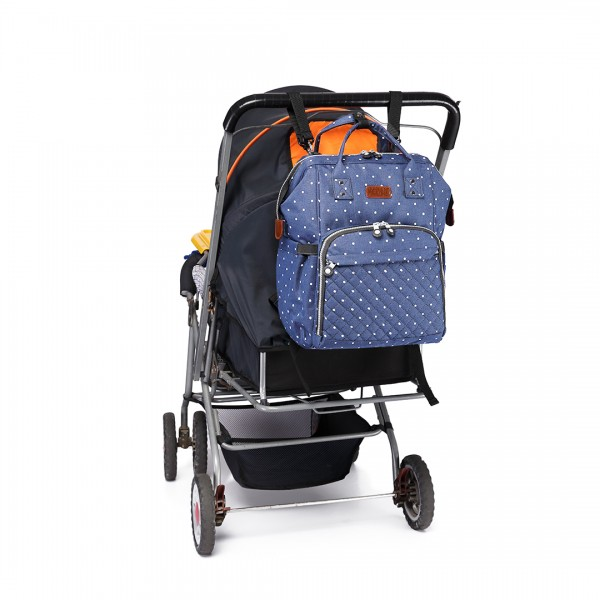 E6705D2 - Kono Wide Open Designed Baby Diaper Changing Backpack Dot Navy