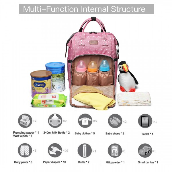 E6705D2 - Kono Wide Open Designed Baby Diaper Changing Backpack Dot - Pink