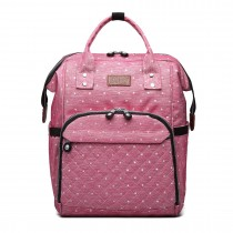 E6705D2 - Kono Wide Open Designed Baby Diaper Changing Backpack Dot- Pink