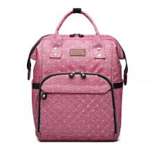 E6705D2 - Kono Wide Open Designed Baby Windel Wickelrucksack Dot - Pink