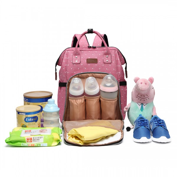 E6705D2 - Kono Wide Open Designed Baby Diaper Changing Backpack Dot Pink