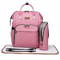 E6705D2 - Miss Lulu Wide Open Designed Baby Diaper Changing Backpack Dot Pink