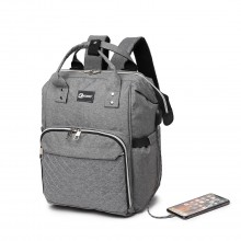 E6705USB - Kono Plain Wide Opening Baby Nappy Changing Backpack With USB Connectivity - Grey