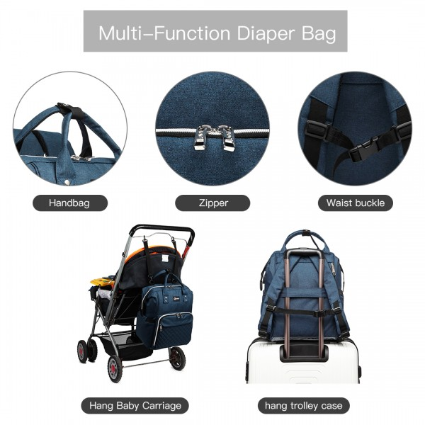 E6705USB - Kono Plain Wide Opening Baby Nappy Changing Backpack With USB Connectivity - Navy