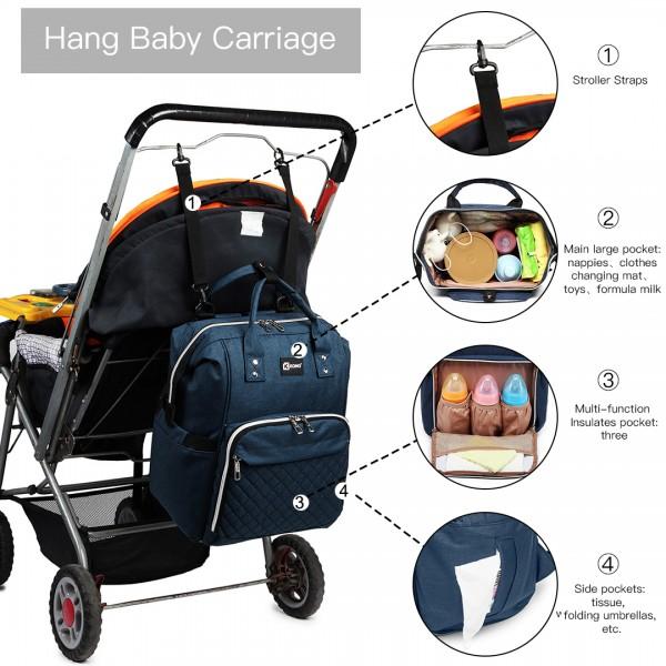 E6705USB - Kono Zwykły plecak do przewijania niemowląt z szerokim otwarciem i łącznością USB - Marynarka wojenna