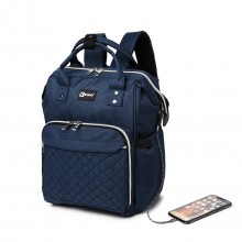 E6705USB-KONO PLAIN WIDE OPENING BABY NAPPY CHANGING BACKPACK WITH USB CONNECTIVITY-NAVY