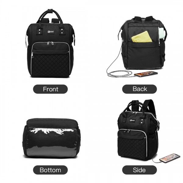 E6705USB-KONO PLAIN WIDE OPENING BABY NAPPY CHANGING BACKPACK WITH USB CONNECTIVITY-BLACK