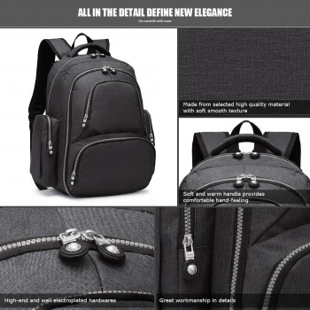 E6706- Miss Lulu Large Capacity Multi Function Baby Diaper Backpack Black