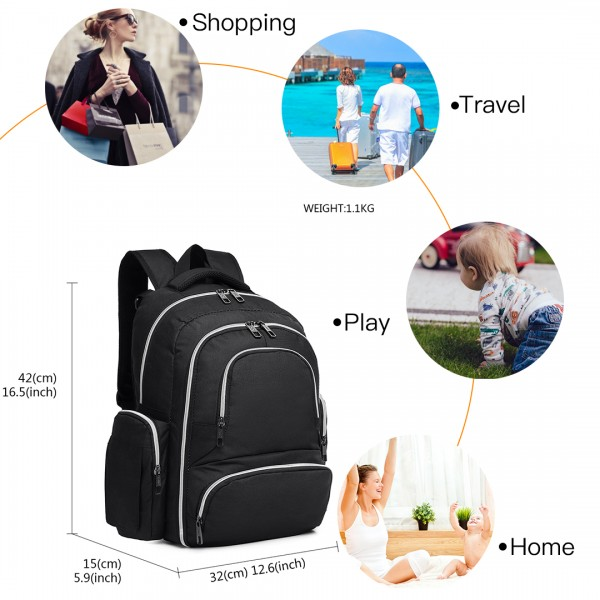 E6706- Miss Lulu Large Capacity Multi Function Baby Diaper Backpack Black