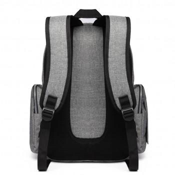 E6706-Miss Lulu Large Capacity Multi Function Baby Diaper Backpack Grey
